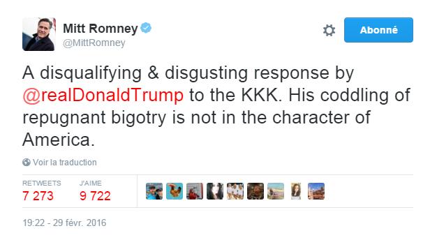 Traduction: Une réponse disqualifiante et dégoûtante de Donald Trump sur le KKK. Sa façon de choyer une intolérance répugnante ne correspond pas au caractère de l'Amérique.