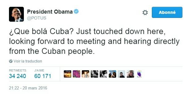 Traduction: Comment ça va Cuba ? Je viens d'atterrir ici, j'ai hâte de rencontrer et d'écouter directement le peuple cubain.