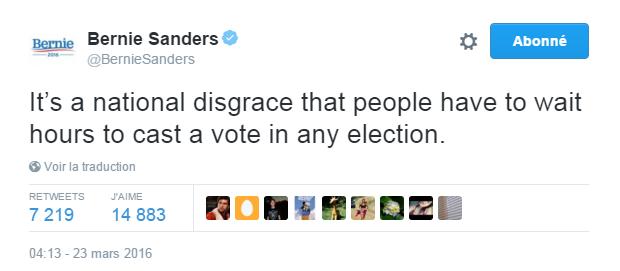 Traduction: C'est une honte nationale que des gens doivent attendre des heures pour voter quelque soit l'élection.