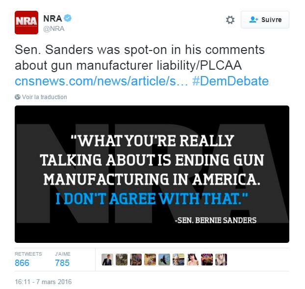 Traduction: Le sénateur Sanders était en plein dans le mille avec ses commentaires sur la responsabilité des fabricants d'armes