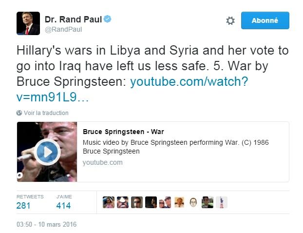 Traduction: Les guerres d'Hillary en Libye et en Syrie et son vote pour aller en Irak nous ont laissés moins en sécurité. 5. War de Bruce Springsteen