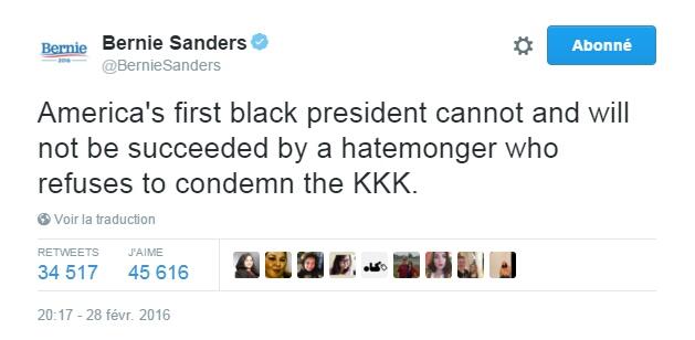 Traduction: Le premier président noir de l'Amérique ne peut pas être et ne sera pas remplacé par quelqu'un qui incite à la haine et refuse de condamner le KKK.