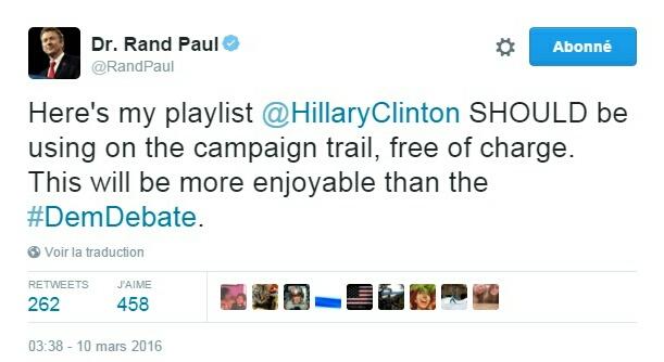 Traduction: Voici ma playlist qu'Hillary Clinton DEVRAIT utiliser pendant sa campagne, gratuitement. Cela sera plus agréable que le débat démocrate.