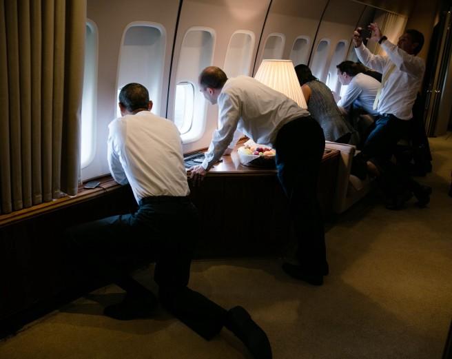 À bord d'Air Force One (Photo officielle Maison Blanche)