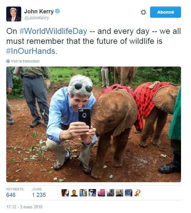 Traduction: En cette journée mondiale de la vie sauvage - et chaque jour - nous devons tous nous souvenir que le futur de la vie sauvage est entre nos mains.