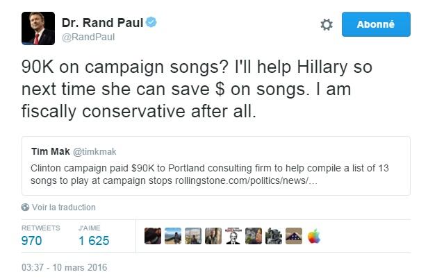 Traduction: 90,000$ pour des chansons de campagnes? Je vais aider Hillary pour qu'elle puisse économiser sur les chansons la prochaine fois. Je suis fiscalement conservateur après tout.