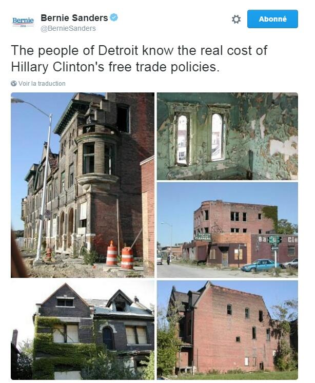 Traduction: Les habitants de Detroit connaissent le prix des politiques de libre échange d'Hillary Clinton.