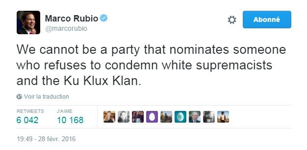 Traduction: Nous ne pouvons pas être un parti qui nomine quelqu'un qui refuse de condamner les suprémacistes blancs et le Ku Klux Klan.