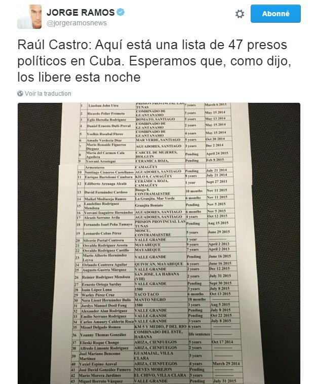 Traduction: Raúl Castro: Voici une liste de 47 prisonniers politiques à Cuba. Nous espérons que, comme vous l'avez dit, vous les libérerez cette nuit.