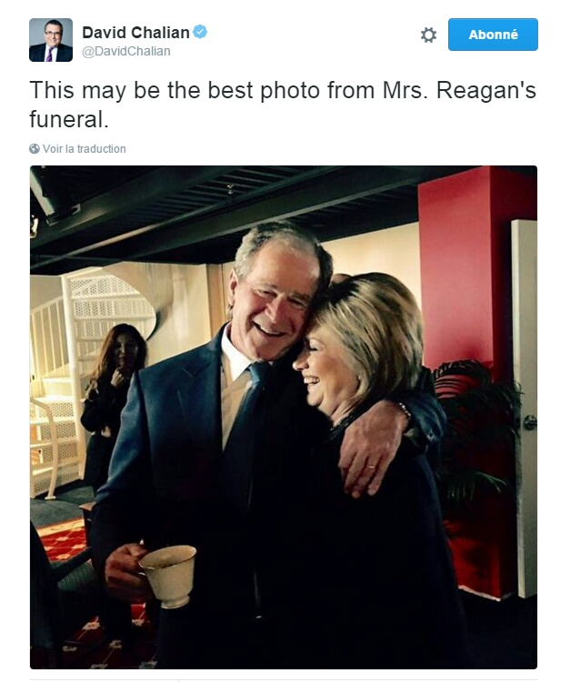 Traduction: Ceci pourrait être la meilleure photo des funérailles de Mrs. Reagan.