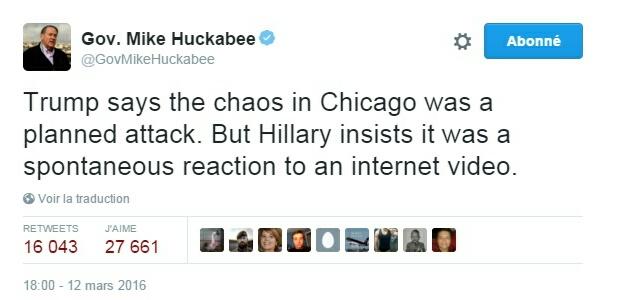 Traduction: Trump dit que le chaos à Chicago était une attaque préméditée. Mais Hillary insiste sur le fait qu'il s'agissait d'une réaction spontanée à une vidéo sur Internet.