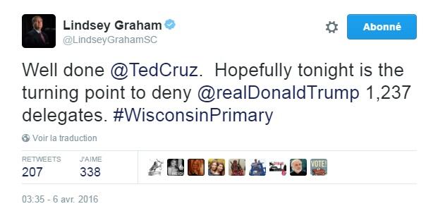 Traduction: Bien joué Ted Cruz. Avec un peu de chance ce soir est le tournant pour empêcher Donald Trump d'obtenir 1,237 délégués.