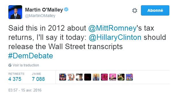 Traduction: J'ai dit ceci en 2012 à propos des déclarations de revenus de Mitt Romney, je le dirai aujourd'hui: Hillary Clinton devrait publier les transcriptions de Wall Street
