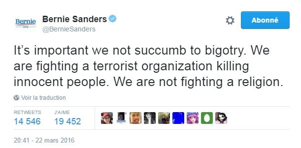 Traduction: Il est important que nous ne succombions pas à l'intolérance. Nous nous battons contre une organisation terroriste qui tue des personnes innocentes. Nous ne nous battons pas contre une religion.