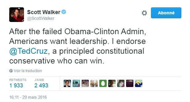 Traduction: Après l'administration ratée Obama-Clinton, les américains veulent du leadership. Je soutiens Ted Cruz, un conservateur de principe qui peut gagner.