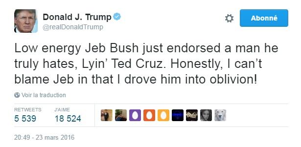 Traduction: Le peu énergique Jeb Bush vient d'apporter son soutien à un homme qu'il déteste, le menteur Ted Cruz. Honnêtement, je ne peux pas blâmer Jeb vu que je l'ai fait tomber dans l'oubli !