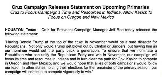 Le communiqué de la campagne de Ted Cruz