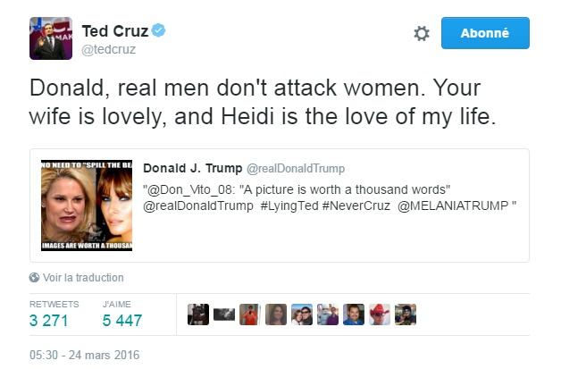 Traduction: Donald, les vrais hommes n'attaquent pas les femmes. Ta femme est charmante, et Heidi est l'amour de ma vie.