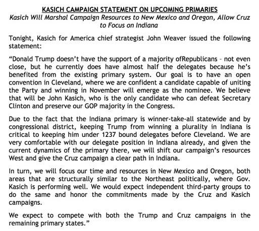 Le communiqué de la campagne de John Kasich