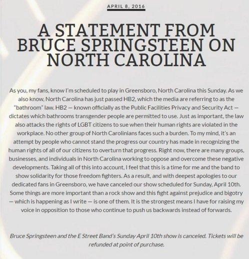 Le communiqué de Bruce Springsteen, justifiant l'annulation de son concert en Caroline du Nord