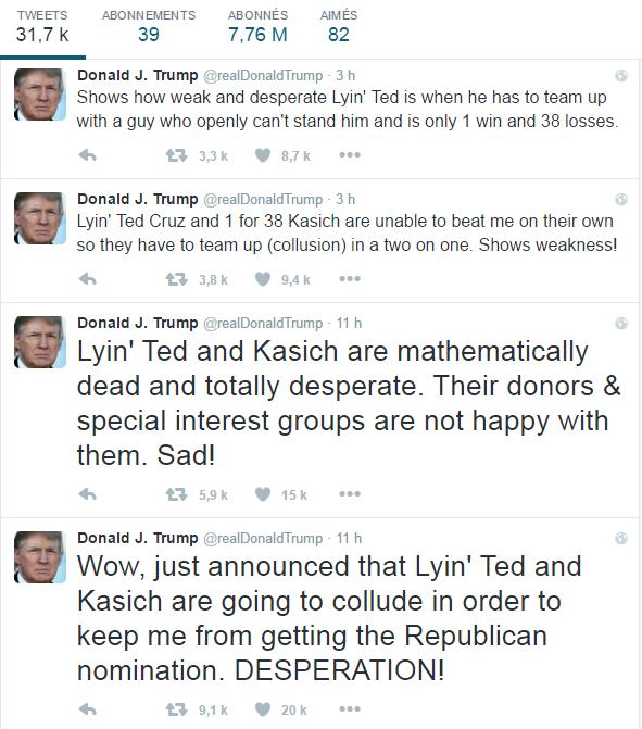 La série de tweets de Donald Trump