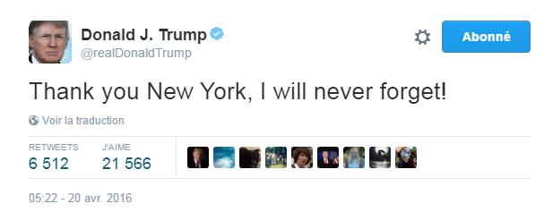 Traduction: Merci New York, je n'oublierai jamais!
