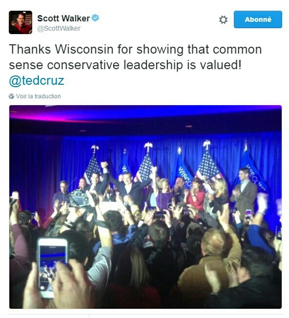 Traduction: Merci le Wisconsin d'avoir montré qu'un leadership conservateur de bon sens est valorisé !