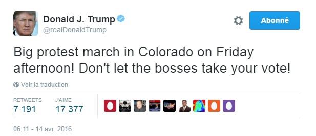Traduction: Grande marche de protestation au Colorado vendredi après-midi! Ne laissez pas les patrons prendre votre vote!