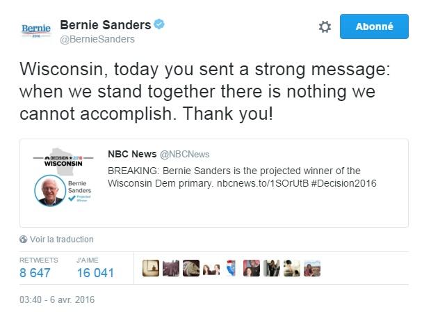 Traduction: Le Wisconsin, aujourd'hui vous avez envoyé un message fort: lorsque nous nous serrons les coudes il n'y a rien que nous ne puissions pas accomplir. Merci !