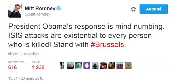 Traduction: La réponse du Président Obama est abrutissante. Les attaques de l'Etat Islamique sont existentielles pour chaque personne qui est assassinée ! Soutien à Bruxelles.