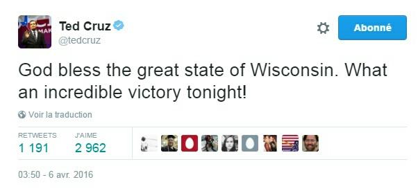 Traduction: Que Dieu bénisse le grand état du Wisconsin. Quelle incroyable victoire ce soir!