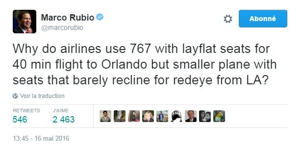 Traduction: Pourquoi les compagnies aériennes utilisent-elles un 767 avec des sièges dans lesquels on peut s'allonger pour un vol de 40 minutes jusqu'à Orlando mais un avion plus petit avec des sièges qui s'inclinent à peine pour un vol de nuit de LA?