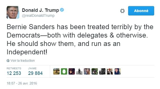 Traduction: Bernie Sanders a été affreusement mal traité par les Démocrates - en termes de délégués & autrement. Il devrait leur montrer, et se présenter en tant qu'Indépendant!