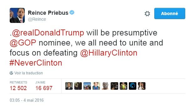 Traduction: Donald Trump sera le nominé du Parti Républicain, nous devons tous nous unir et nous atteler à vaincre Hillary Clinton