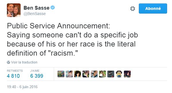 """Traduction: Annonce du service public: Dire que quelqu'un n'est pas capable d'effectuer un certain travail en raison de sa race est la définition littérale du """"racisme""""."""