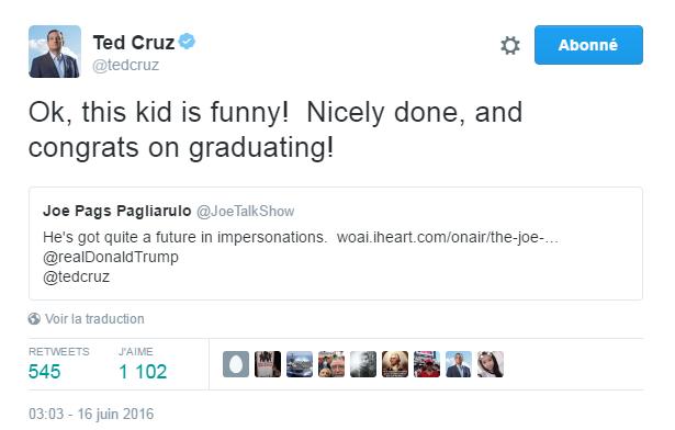 Traduction: Ok, ce garçon est drôle! Très bien fait, et bravo pour le diplôme!