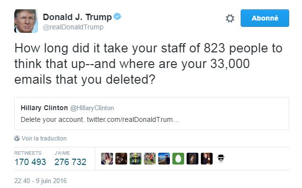 Traduction: Combien de temps a-t-il fallu à votre staff de 823 personnes pour penser à cela -et où sont les 33,000 e-mails que vous avez effacés?