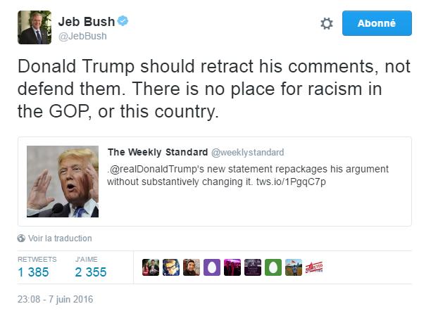 Traduction: Donald Trump devrait retirer ses propos, pas les justifier. Il n'y a pas de place pour le racisme au sein du Parti Républicain, ni de ce pays.