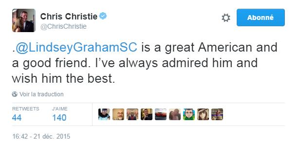 Traduction: Lindsey Graham est un grand américain et un bon ami. Je l'ai toujours admiré et je lui souhaite le meilleur.