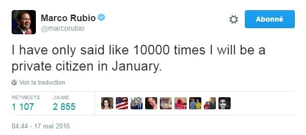 Traduction: J'ai répété seulement 10,000 fois que je serai un citoyen privé en janvier.