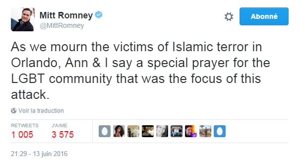 Traduction: Alors que nous pleurons les victimes du terrorisme islamique à Orlando, Ann & moi adressons une prière particulière à la communauté LGBT qui était la cible de cette attaque.