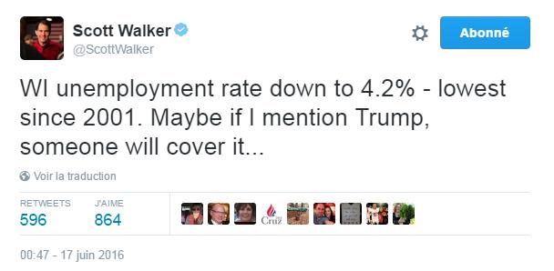 Traduction: Le taux de chômage est tombé à 4,2% au Wisconsin - le plus bas depuis 2001. Peut-être que si je mentionne Trump, quelqu'un en parlera...