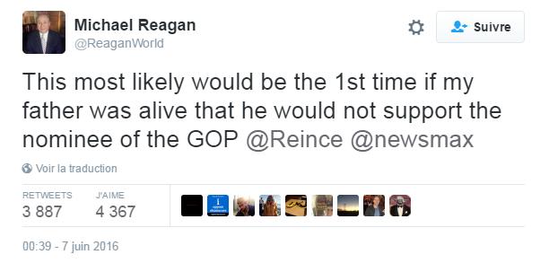 Traduction: Cela serait certainement la première fois que mon père, s'il était vivant, ne soutiendrait pas le candidat du Parti Républicain