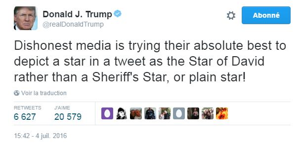 Traduction: Les médias malhonnêtes font absolument tout leur possible pour décrire une étoile dans un tweet comme l'étoile de David plutôt que comme une étoile de shérif, ou une simple étoile !