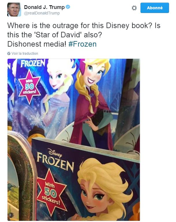 """Traduction: Où est l'indignation pour ce livre Disney? Est-ce qu'il s'agit aussi d'une """"étoile de David""""? Médias malhonnêtes !"""