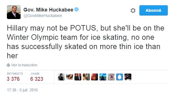 Traduction: Hillary ne sera peut-être pas présidente des Etats-Unis, mais elle fera partie de l'équipe olympique d'hiver pour le patinage, personne n'a glissé avec plus de succès qu'elle sur la glace