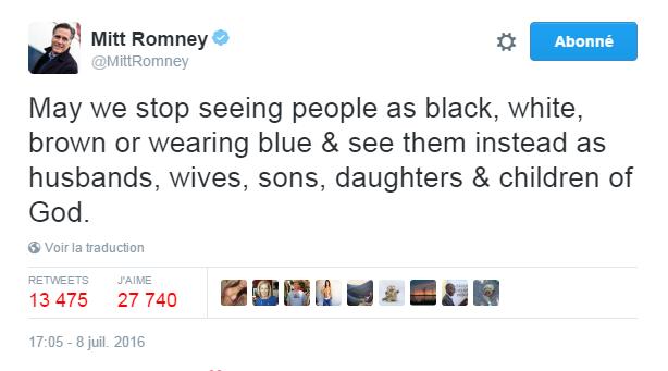 Traduction: Puissions-nous arrêter de voir les gens comme noirs, blancs, bruns ou portant du bleu & les voir plutôt comme des maris, des femmes, des fils, des filles & des enfants de Dieu.