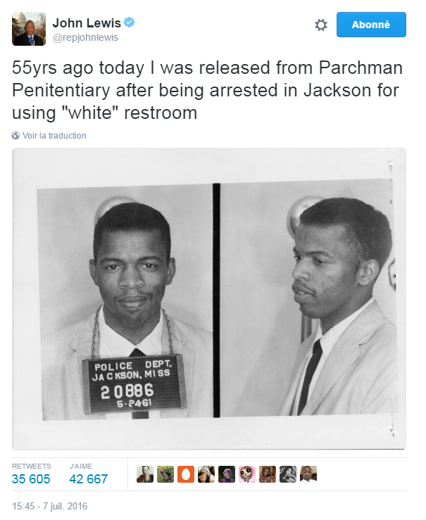 """Traduction: Il y a 55 ans aujourd'hui, j'étais libéré de la prison de Parchman après avoir été arrêté à Jackson pour avoir utilisé des toilettes """"blanches"""""""