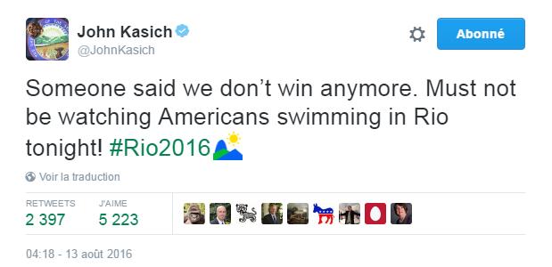 Traduction: Quelqu'un a dit que nous ne gagnons plus. Il ne doit pas être en train de regarder les nageurs américains à Rio ce soir!