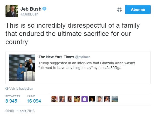 Traduction: Ceci est tellement incroyablement irrespectueux pour une famille qui a enduré le sacrifice ultime pour notre pays.